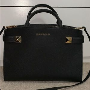 Medium Michael kors black with gold handbag